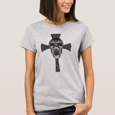 Halloween Themed Tribal Vampire Skull Cross Goth Art T-Shirt