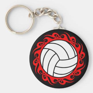 tribal volleyball basic round button keychain