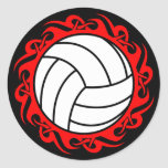 tribal volleyball round sticker