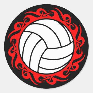 tribal volleyball round sticker