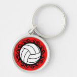 tribal volleyball Silver-Colored round keychain
