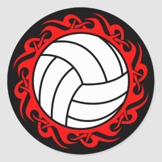 tribal volleyball classic round sticker