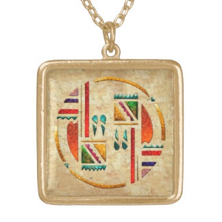 Tribal War Dance Native Matching Square Pendant Necklace