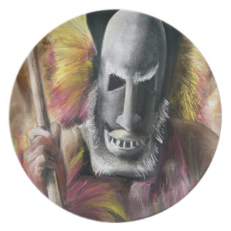 Tribal Warrior painting plate