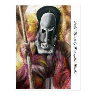 Tribal Warrior painting postcard
