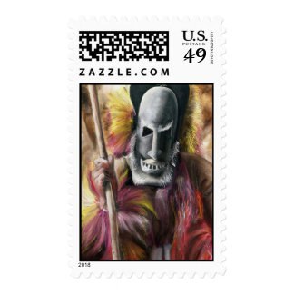 Tribal Warrior painting stamp