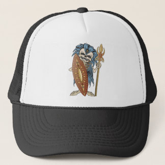 Tribal Warrior Skull Trucker Hat