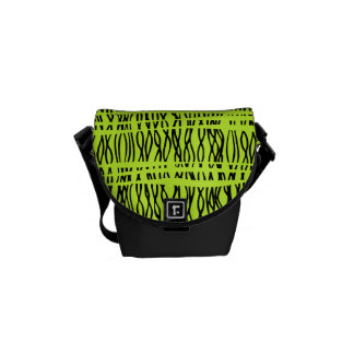 Tribal weave black and lime green stripe small bag