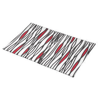 Tribal weave black, white and red canvas placemat cloth place mat