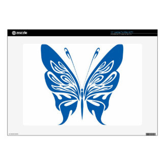 "Tribal, White and Dark Blue Butterfly 15"" Laptop Decals"