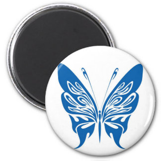 Tribal, White and Dark Blue Butterfly 2 Inch Round Magnet