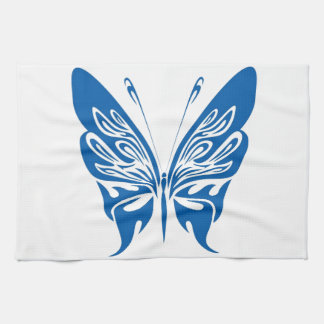 Tribal, White and Dark Blue Butterfly Hand Towel