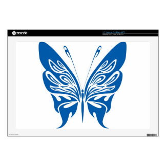 Tribal, White and Dark Blue Butterfly Laptop Skin