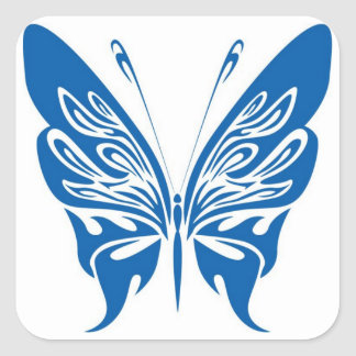 Tribal, White and Dark Blue Butterfly Square Sticker