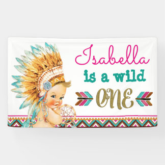Tribal Wild One Birthday Banner 1st Birthday