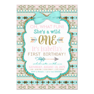 Tribal Wild One Birthday Party Invitation