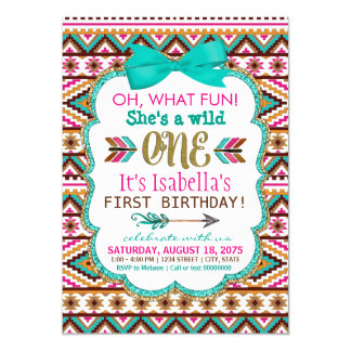 Tribal Wild One First Birthday Party Invitations