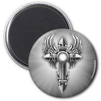 Tribal Winged Cross Design Magnet