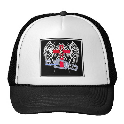 TRIBAL WINGS WITH CROSS AND CHAINS TRUCKER HAT