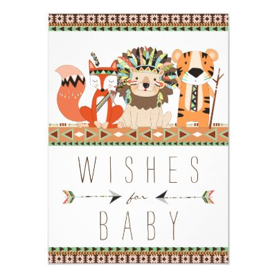 wishes for baby tribal arrows shower navy orange card | zazzle, Baby shower invitations