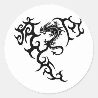 Tribal with dragon classic round sticker
