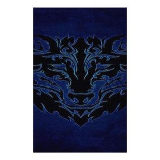 Tribal Wolf Blue Stationery