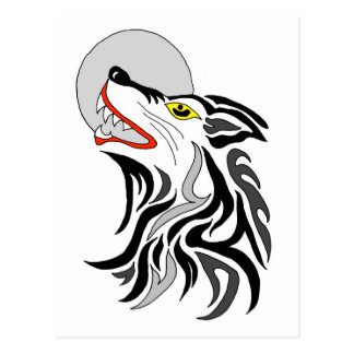 tribal wolf howl at the moon postcard