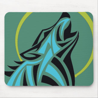 Tribal Wolf Light Blue Black Howling Moon Gold Mouse Pad