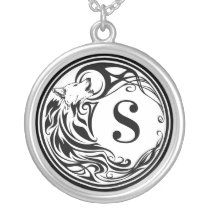 Tribal Wolf Monogram Silver Plated Necklace