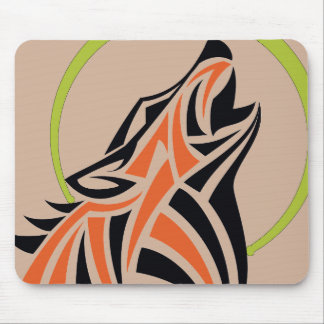 Tribal Wolf Orange Black Howling Moon Gold Mouse Pad