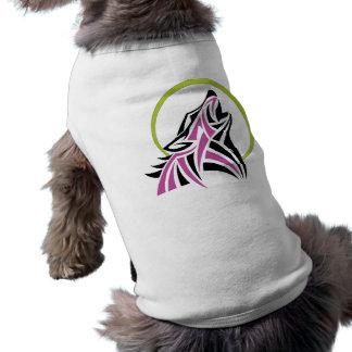 Tribal Wolf Pink Black Howling Moon Gold T-Shirt