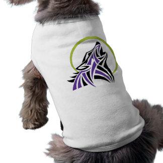 Tribal Wolf Purple Black Howling Moon Gold T-Shirt