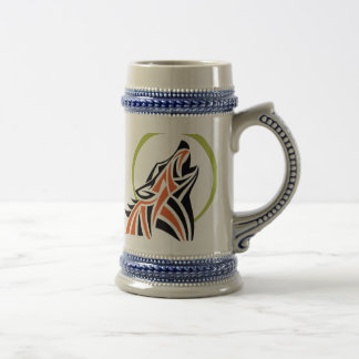 Tribal Wolf Red Black Howling Moon Beer Stein