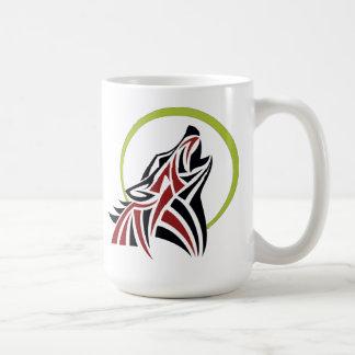Tribal Wolf Red Black Howling Moon Coffee Mug