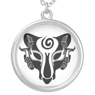 Tribal Wolf Round Pendant Necklace