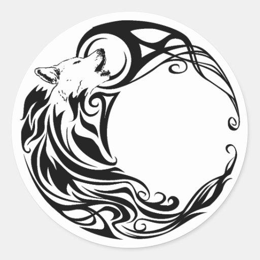 Tribal Wolf Round Sticker | Zazzle: www.zazzle.com/tribal_wolf_round_sticker-217553715792310011