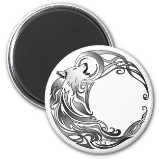 Tribal Wolf - Shaded 2 Inch Round Magnet