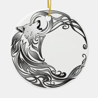 Tribal Wolf - Shaded Ceramic Ornament