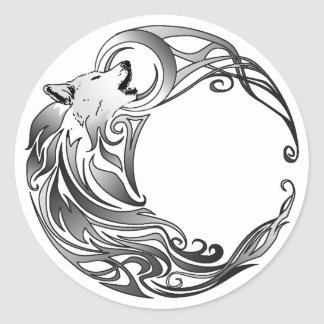 Tribal Wolf - Shaded Classic Round Sticker