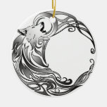 Tribal Wolf - Shaded Double-Sided Ceramic Round Christmas Ornament
