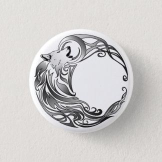 Tribal Wolf - Shaded Pinback Button