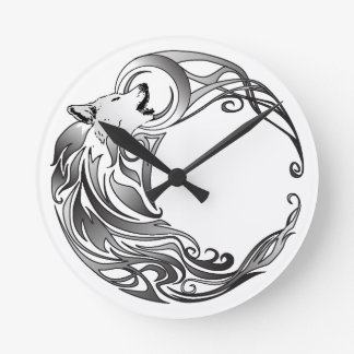 Tribal Wolf - Shaded Round Clock