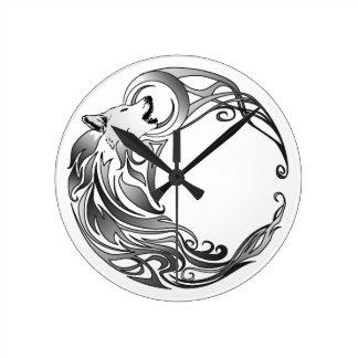 Tribal Wolf - Shaded Round Wall Clocks