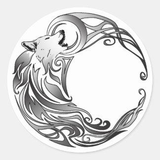 Tribal Wolf - Shaded Classic Round Sticker