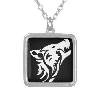 Tribal Wolf Silver Plated Necklace
