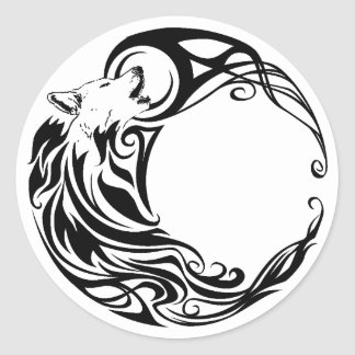Tribal Wolf Classic Round Sticker