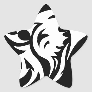 Tribal Wolf Star Sticker