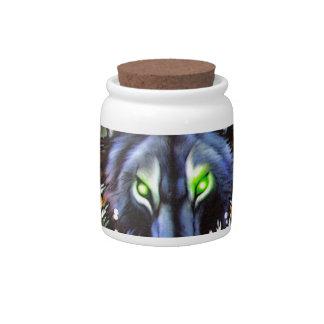Tribal wolf tattoo design candy jar
