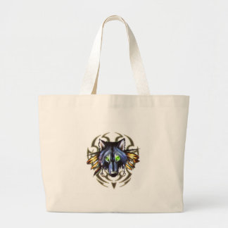 Tribal wolf tattoo design large tote bag