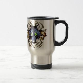 Tribal wolf tattoo design travel mug